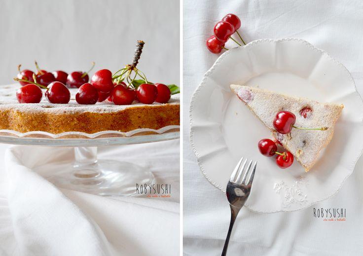 Torta morbida alle ciliegie senza glutine, perfetta per la colazione, per l'ora del tè o per una cena se accompagnata con del gelato alla vaniglia! La ricetta è qui --->  http://robysushi.com/2015/06/09/torta-morbida-alle-ciliegie-senza-glutine/