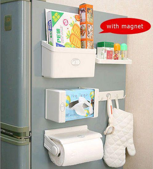 5 in 1 Magnetic Fridge Storage Organiser Set Rack Shelf Hook Tissue Paper Towel
