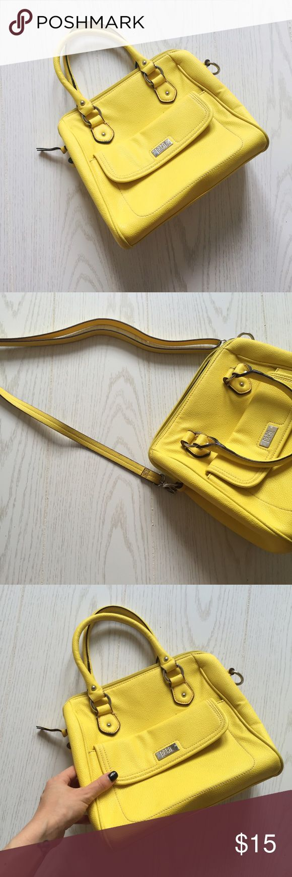 neon yellow purse neon yellow handbag with removable strap to wear as a crossbody. light dye transfer on back of the purse in a couple of spots as seen in picture. this bag has some wear, but has a lot of life left. price reflects wear. jcpenney Bags Crossbody Bags