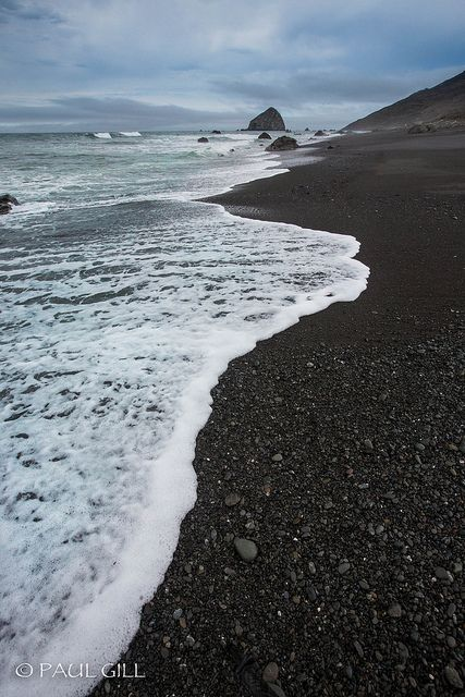 Lost Coast black beach, Northern California by paulgillphoto, via Flickr