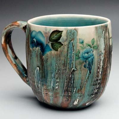 Luba Sharapan: Pottery Mugs Cups, Luba Sharapan, Ceramics Cups, Pottery Mugscup, Art Pottery, Blue Flower, Pottery Inspiration, Coffee Mugs, Ceramics Inspiration