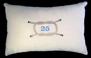 SILVER KNOT Cushion featuring an embroidered reef knot  made to commemorate a sailing couple's silver wedding anniversary.