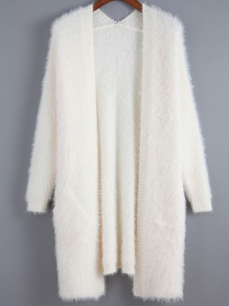 Beige Long Sleeve Shaggy Loose Cardigan , High Quality Guarantee with Low Price!