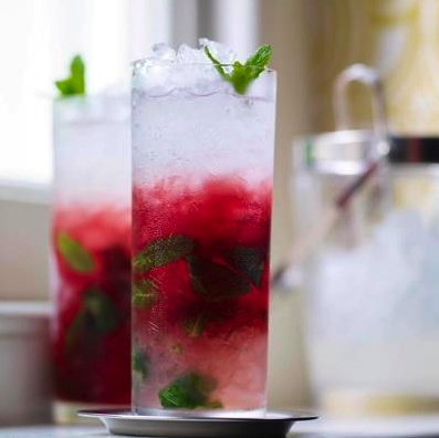 'Blackcurrant mojito', rum cocktail: http://www.waitrose.com/content/waitrose/en/home/recipes/recipe_directory/b/blackcurrant_mojito.html