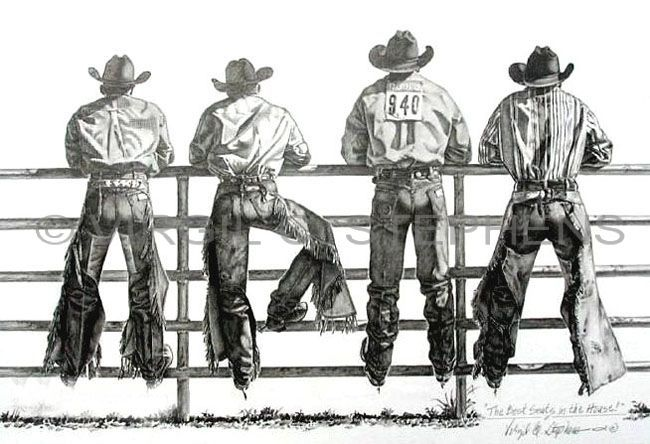 The Best Seats In The House, rodeo cowboys pencil drawing by western Artist Virgil C. Stephens