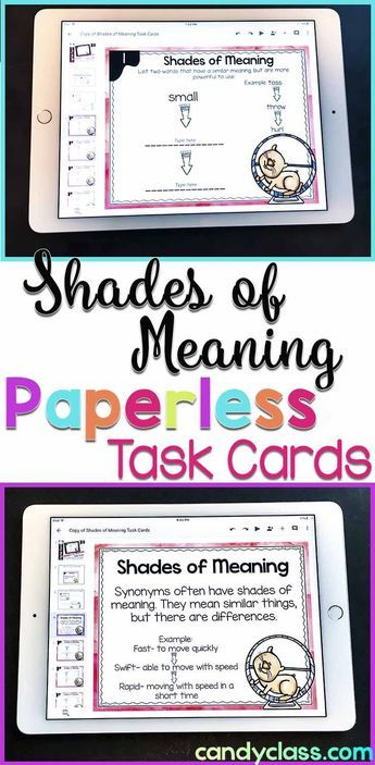 These shades of meaning digital task cards are handy for ela center activities, teaching the concept, practice, or review. Use in Google Classroom or Google Drive to teach this important vocabulary skill. Geared for 2nd grade, but this synonym activity can be used in 3rd grade classrooms too. Includes anchor charts and can be used paperless or not. It is a good idea to have a set of these around!
