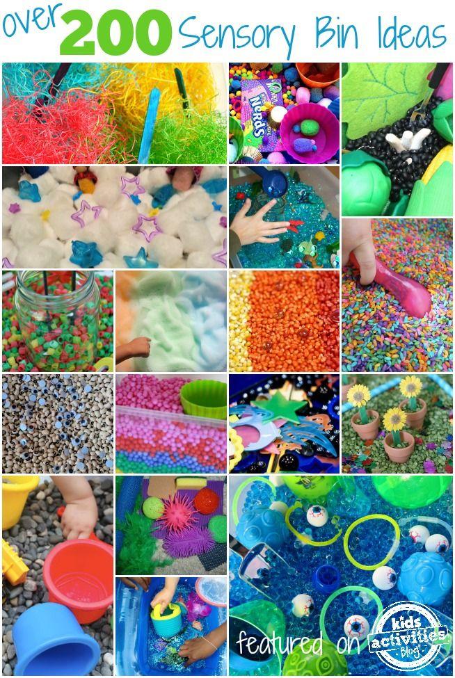 Over 200 sensory bin ideas for preschoolers.