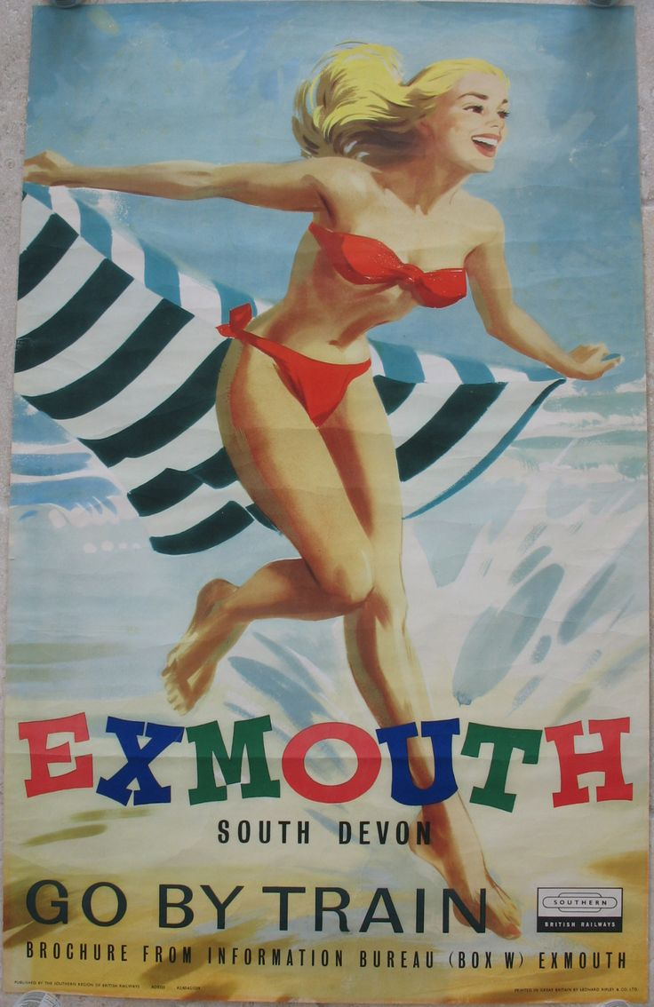 """Exmouth - South Devon - Go By Train. A classic image of a """"bathing belle"""" running along the beach in a bikini, splashing through the waves, with a striped beach-towel flying behind her. All very daring for 1959, and not common in Exmouth! Original Vintage Railway Poster available on originalrailwayposters.co.uk"""