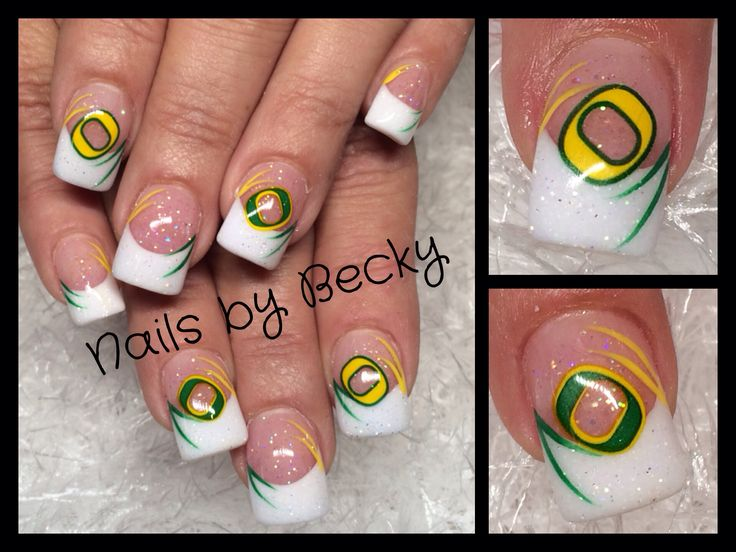 Nails by Becky Richardson acrylic glitter sparkle green yellow French u of o university of Oregon  ducks