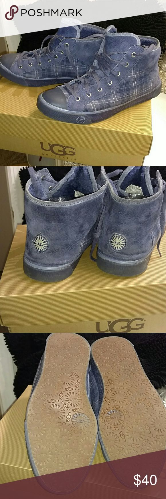 Ugg Sneaker Blue Plaid Hi top Ugg Sneaker Blue Plaid Hi top. Navy Blue and white plaid Ugg Sneakers. Supper comfortable.  In box. UGG Shoes Sneakers