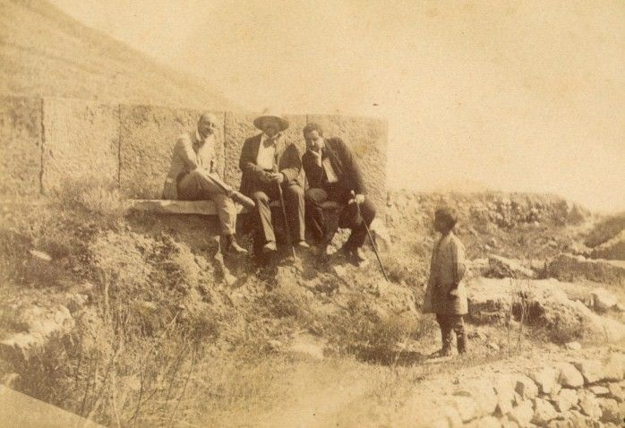 D'Annunzio with his French translator Georges Hérelle (centre) in Greece in 1895.