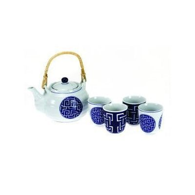 5+Piece+Cobalt+Blue+Tea+Set+-+Geometric+Design