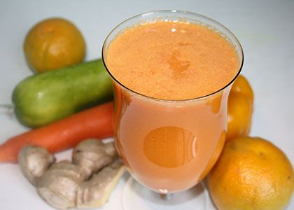INGREDIENTS: 2 small oranges 3 carrots 1 – 2 cucumbers 1 yellow bell pepper (capsicum) 1 in (2.5 cm) piece of ginger