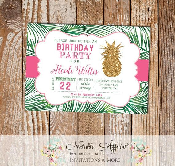 Horizontal Palm Leaves and Gold Pineapple with pink Birthday Party Invitation - Party like a pineapple - tropical luau - pink can be changed