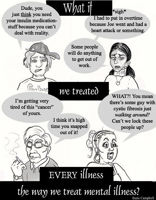 The frustrating way people talk about mental illness versus other illnesses. | 21 Comics That Capture The Frustrations Of Depression