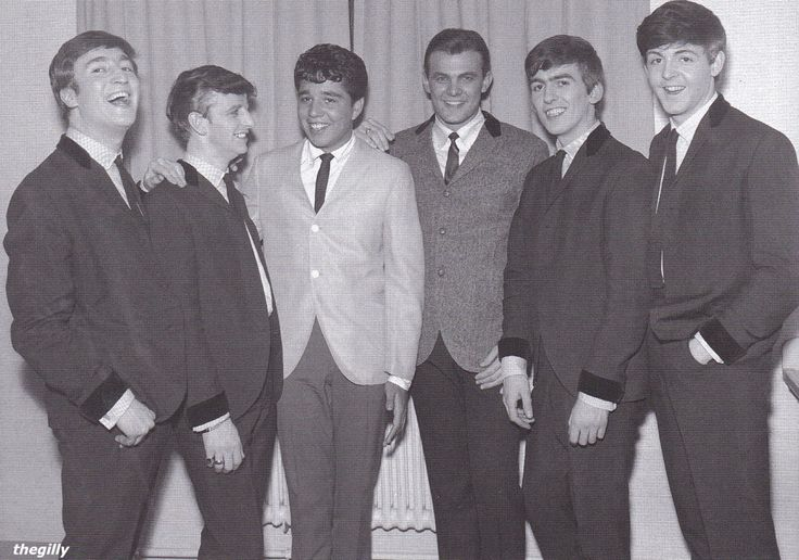 The Beatles with Tommy Roe and Chris Montez backstage at the Liverpool Empire Theatre, 24 March 1963