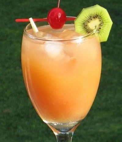 Gilligan's Island - 1 oz. Vodka, 1 oz. Peach Schnapps, 3 oz. Orange Juice, 3 oz. Cranberry Juice, Cherry and/or Slice of fruit to garnish - Combine all of the...