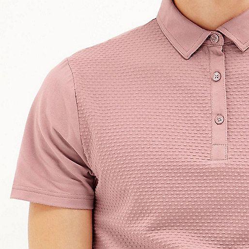Pink dotty textured polo shirt - polo shirts - sale - men