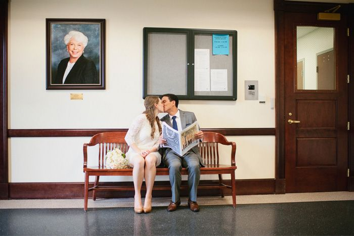 Katie and Rodney's $1,500 Courthouse Wedding. See their photos by Laura Fulmer Photography on www.intimateweddings.com/blog #civilceremony #courthousewedding
