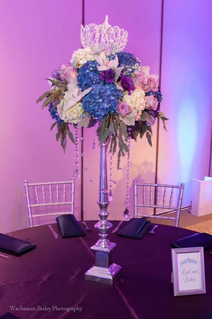 Tall floral centerpiece - Bat mitzvah - Royalty queen princess theme - Design by DB Creativity - pc: Wachsman-Staley Photography
