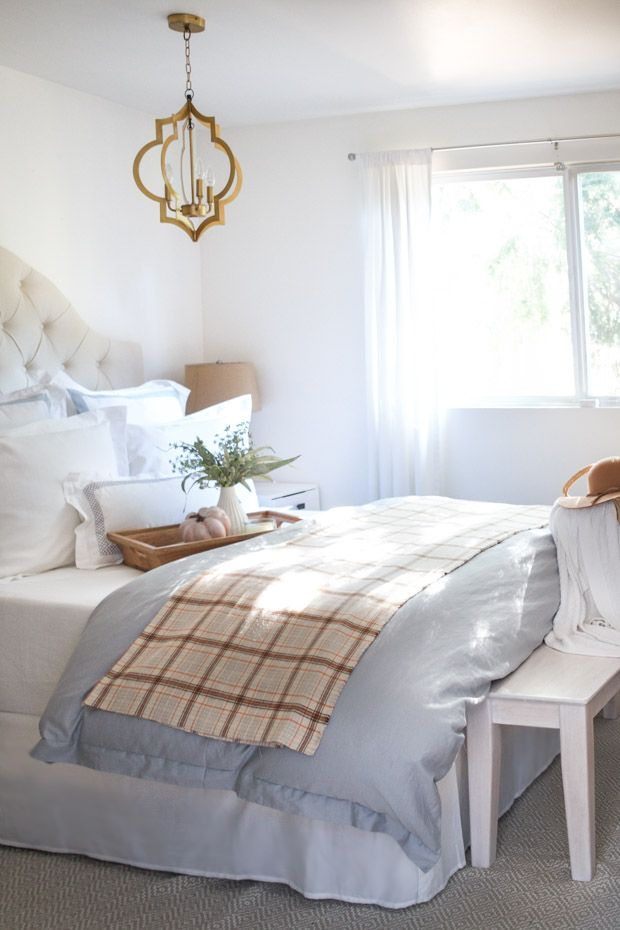 farmhouse/cottage style bedroom all dressed up for fall. Part of a home tour with cozy and warm decorative touches.