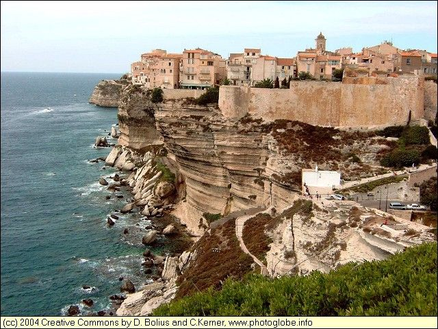 Bonifacio, Corsica.  Houses perched precariously over the edge- some have fallen in over the years.