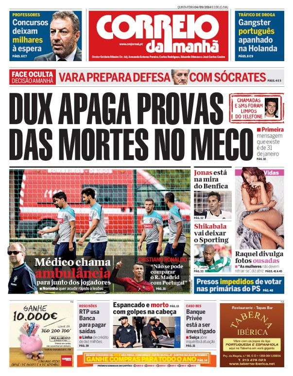 Primeira página jornal Correio da Manha dia 04 Setembro.