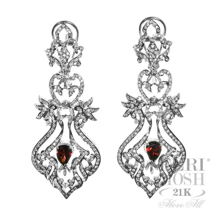 Royal Collection Earrings - solid 18K white gold, genuine diamonds, shape: round, baguette.