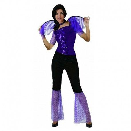 Disfraces Halloween mujer | Disfraz de vampiresa morada. Compuesto de pantalon con gasas acampanado, blusa con cintas y alas. Atencion: Talla XS. 17,95€ #vampiresa #vampira #disfrazvampira #disfrazvampiresa #disfraz #halloween #disfrazhalloween #disfraces