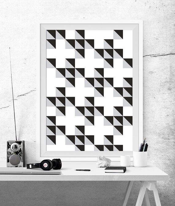 Geometric Abstract Poster Prints Printable Black White Grey Cross Cubes Triangles Optical Effect Squares Minimalist Decor Art Geometry