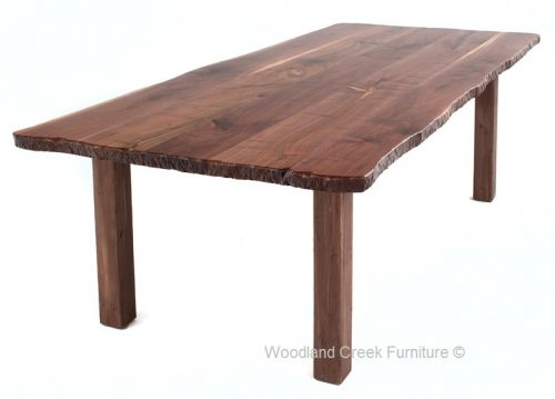 Live Edge Farm Table by Woodland Creek Furniture in Custom Made Sizes.  Shown in black