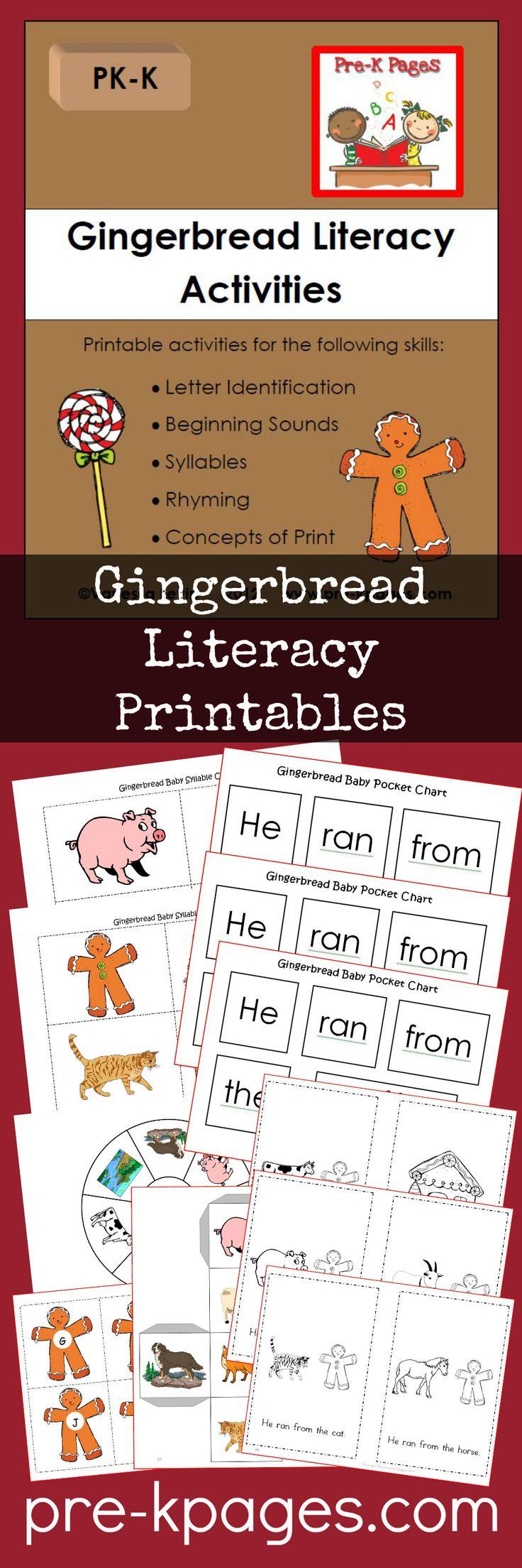 Printable Gingerbread Literacy Activities for Preschool and Kindergarten
