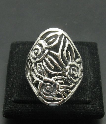Stylish Sterling Silver Ring Flower Oxidized Solid 925 Size 4 - 10 Empress