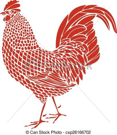 Vector - Red Rooster - stock illustration, royalty free illustrations, stock clip art icon, stock clipart icons, logo, line art, EPS picture, pictures, graphic, graphics, drawing, drawings, vector image, artwork, EPS vector art