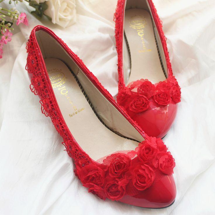 Красные свадебные туфли шифон пряжи кружева брачное ложе свадебные туфли вечернее платье вечернее платье невесты обувь