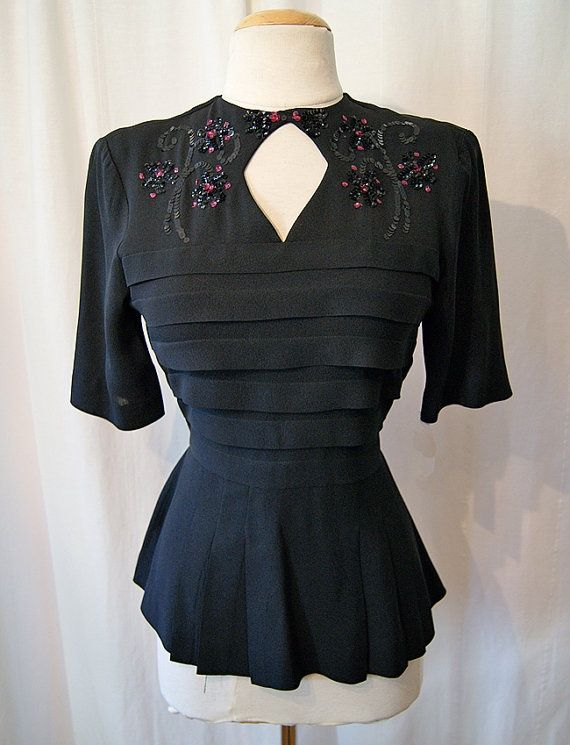 follow me @cushite Beautiful 1940s crepe blouse with sequins film noir by wearitagain, $175.00