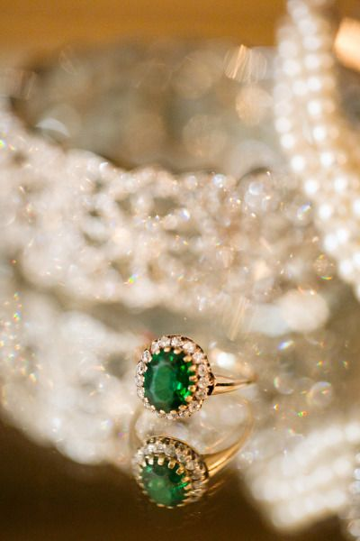 Emerald engagement ring: http://www.stylemepretty.com/missouri-weddings/st-louis/2014/06/12/gorgeous-fall-wedding-in-st-louis/ | Photography: Heather Roth - http://www.heatherrothphotography.com/