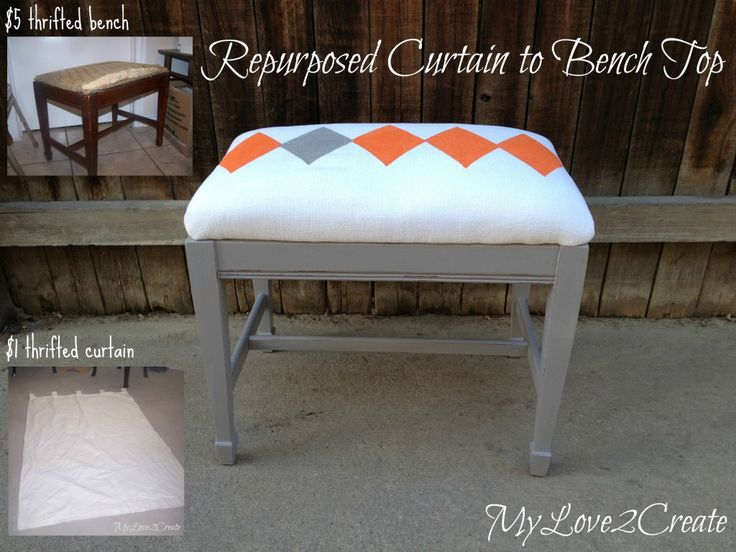 Cover a thrifted bench with a repurposed curtain by MyLove2Create