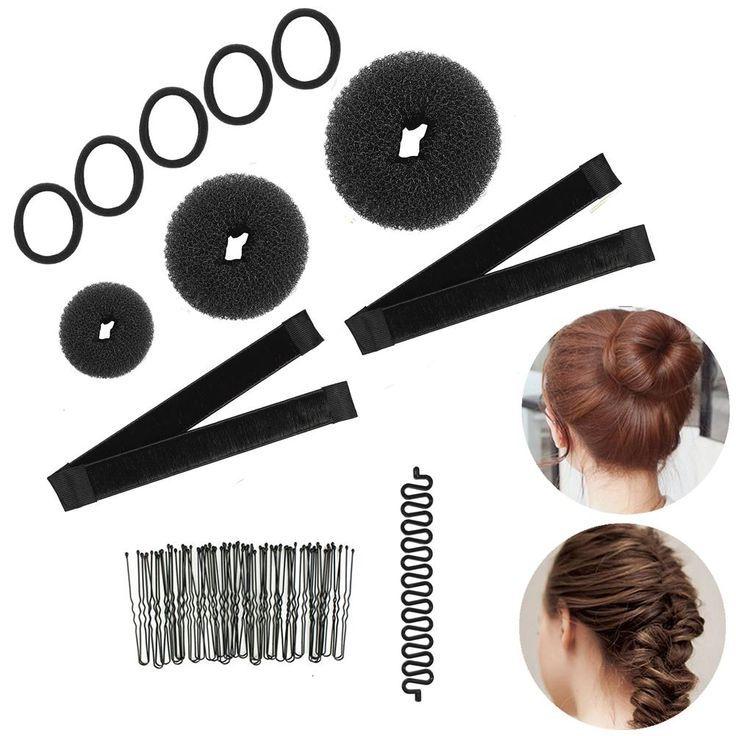 Magic Hair Styling Kit French Donut Bun Maker Braiding Tool Hair Ties Hair Bobby Pins Clips For Women Girls Black Set Magic Hair Hair Ties Braid Tool
