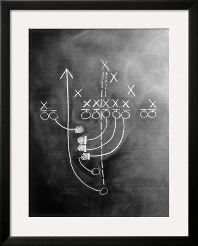 Football Play on Chalkboard Stretched Canvas Print (via Art.com)