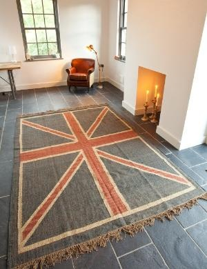 Union Jack Rug - Rose & Grey, Vintage Leather Sofas and Stylish Accessories