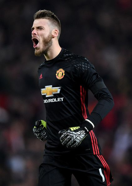 David De Gea of Manchester United celebrates after teammate Zlatan Ibrahimovic of Manchester United scores the opening goal during the EFL Cup quarter final match between Manchester United and West Ham United at Old Trafford on November 30, 2016 in Manchester, England.