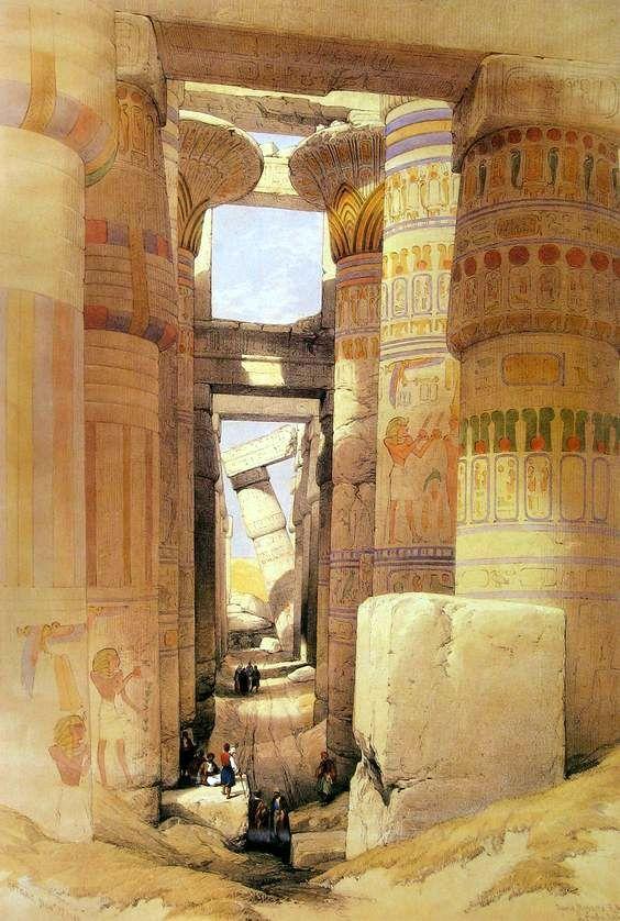 Temple of Karnak Columns Hall.  1842. David Roberts