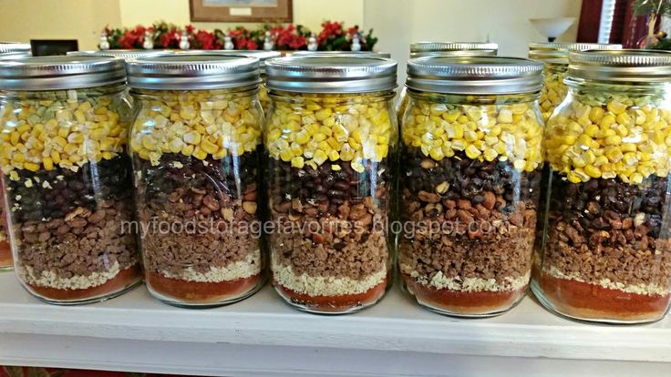 Taco Soup in a Jar - made with food storage - taco seasoning - salt - pepper - tomato powder - freeze dried onions - freeze dried hamburger - instant pinto beans - instant black beans - freeze dried corn - freeze dried green chilies