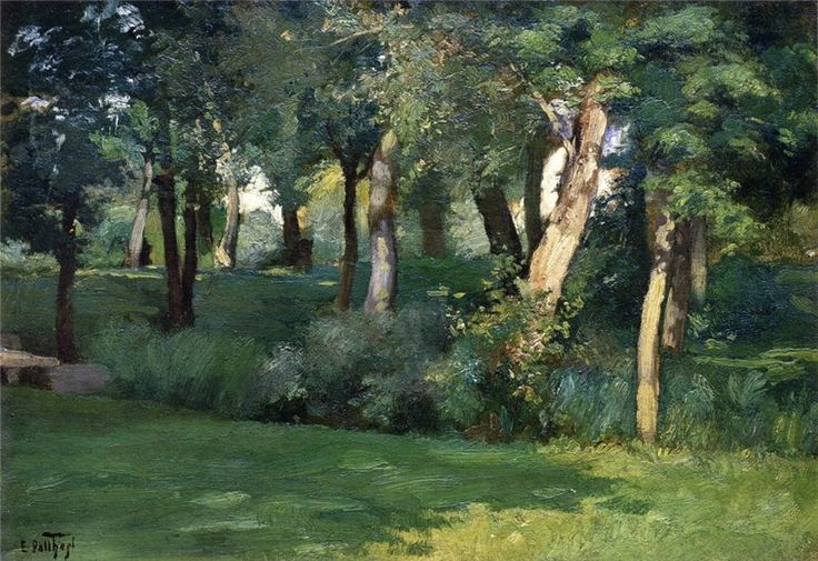 The Barbizon Forest, Edward Henry Potthast.  American Impressionist Painter (1857 - 1927)