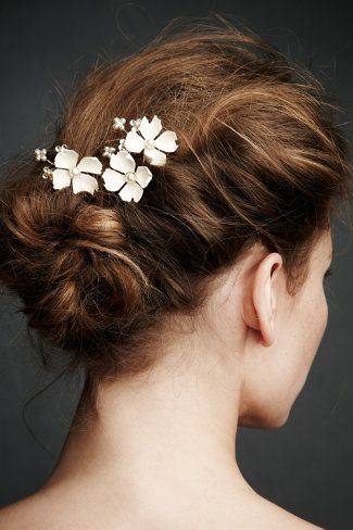 Spring in Connecticut means dogwoods in bloom, so what better way to celebrate than Dogwood Flower Hairpins peeking out from a romantic bun? Enameled blooms are intertwined with pearl fleurettes and Swarovski crystals.