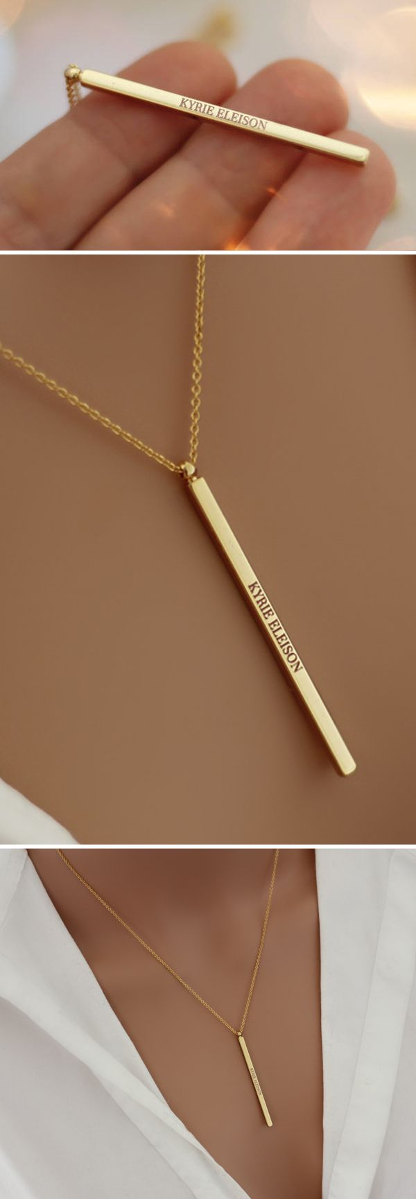 "Delicate necklace minimalist and discreet consisting of a fine chain and a pendant bar bearing the inscription in Latin ""KYRIE ELEISON"" which means ""Lord, have mercy"". #gold #plated #16k #jewelry #jewellery #french #creation #handmade #religious #medal  #christian #christians #catholic #necklace #etsy #bijoux #bijou #collier #fait #main #religieux #pendentif #médaille #religieuse #minimalist #gravure #engraved #kyrie #eleison #catholique #chretien #chretienne #mariage #mariée"