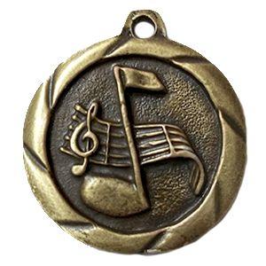 Medalla genérica ref Melodía, con placa de marca en posterior y cinta para colgar