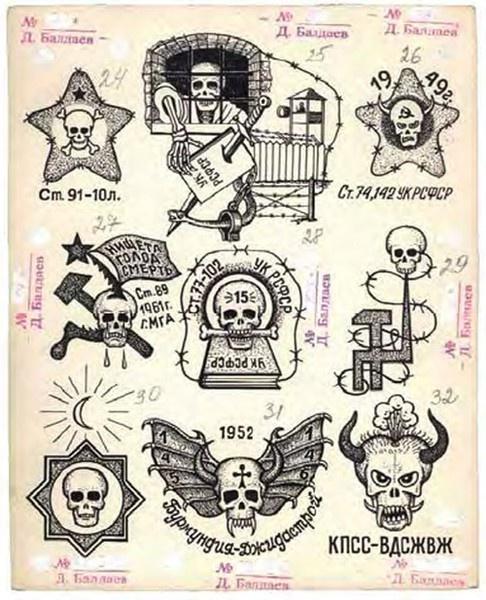 Russian prison tattoo's. Might be relevant for Russian mafia type stuff...