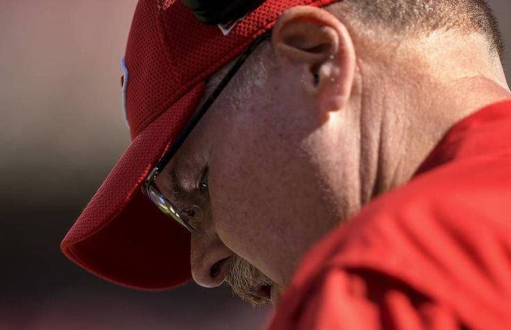 Saints vs. Chiefs  -  27-21, Chiefs  -  October 23, 2016:   Kansas City Chiefs head coach Andy Reid looked at his play sheet in the fourth quarter against the New Orleans Saints at Arrowhead Stadium in Kansas City, Mo. on October 23, 2016. The Chiefs won, 27-21.